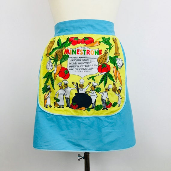 Novelty print cotton apron 1960s fun kitchen pinafore half pinny original midcentury minestrone recipe cartoon blue 50s St Michael vintage