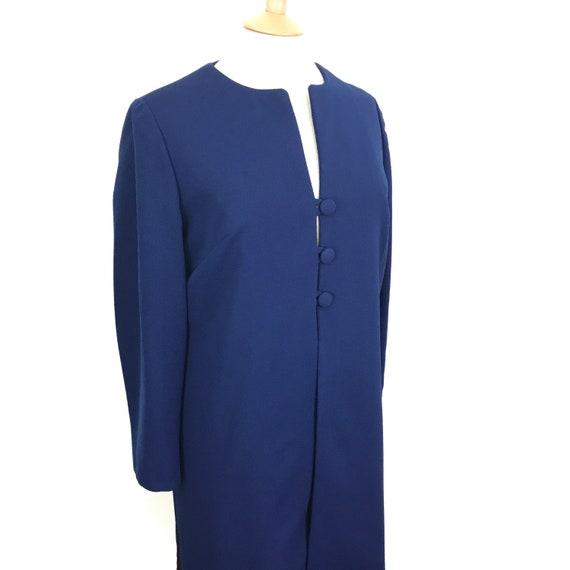 vintage duster coat, mod coat, 1960s jacket, 3/4 coat, blue over coat, 60s jacket, crimplene,  Scooter girl, wedding guest UK 14, wedding,