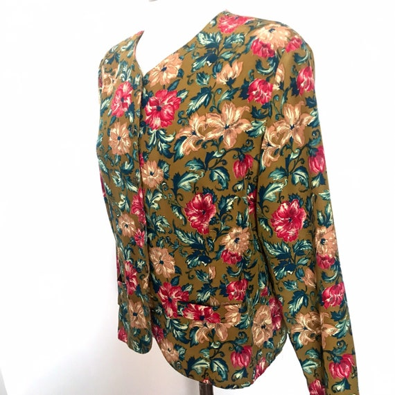 Vintage top,90s shirt,chintz print,pretty in pink,90s print,khaki,waist length,molly ringwald,Nu wave,1990s,UK 14, 80s,brown,gold buttons