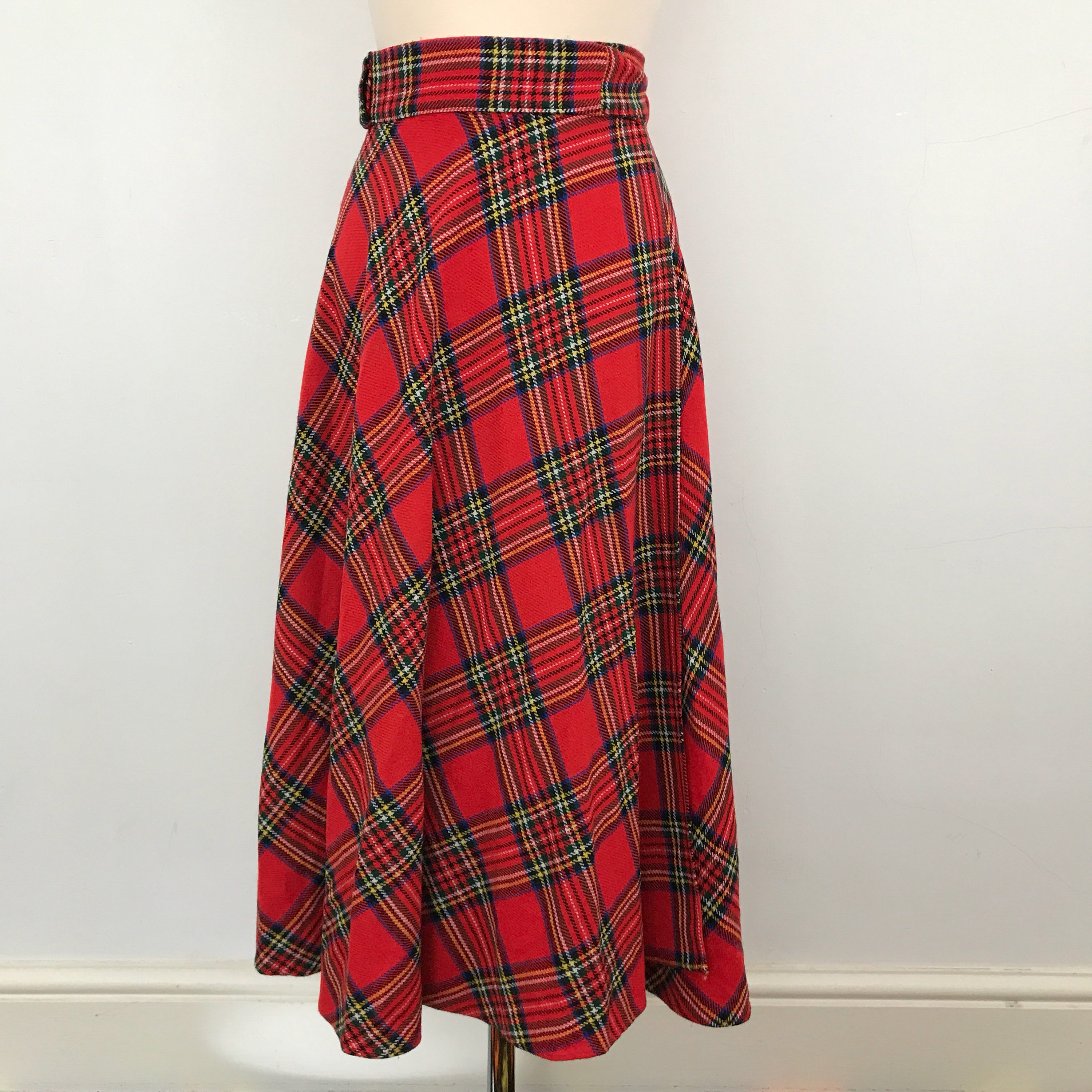 eb78d924b9 Tartan maxi wrap skirt vintage Scottish red long flared high waisted UK ...