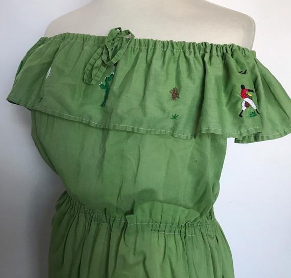 Vintage dress,off shoulder dress,gypsy,peasant dress,embroidered,cold shoulder,green dress,elasticated waist,UK 16,cactus,novelty,frilly