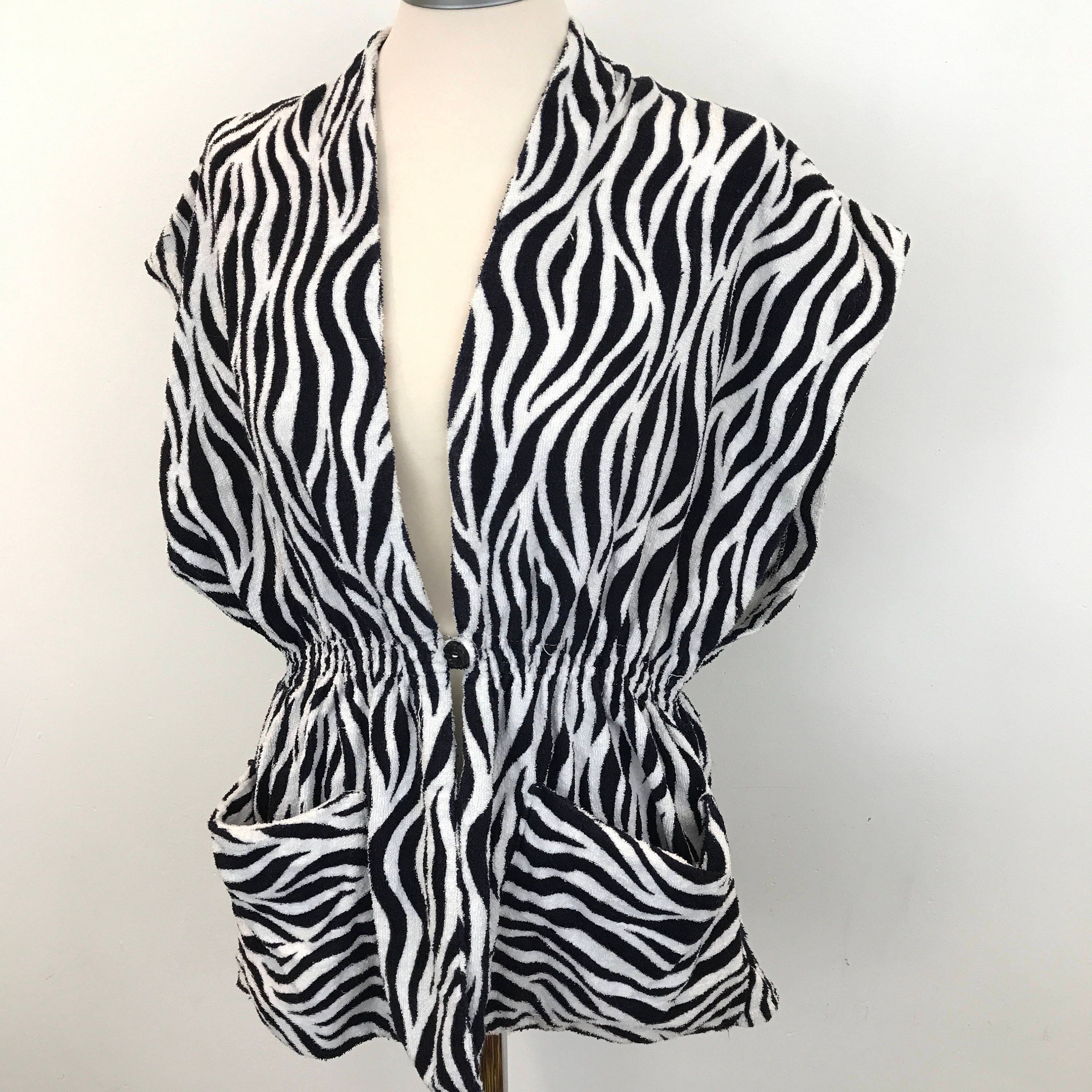 03517340 1950s towelling jacket beach cover up zebra animal print terry towel top UK  12 to 14 stripey 50s original pin up swimwear