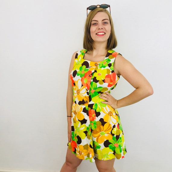Vintage playsuit, 60s romper, 1960s mini jumpsuit, cotton twill, flower power, neon, UK 12, all in one, faux wrap, GoGo,