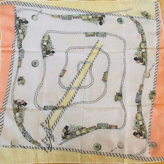 1950s scarf, 50s print, novelty print,square scarf,small scarf, silk,train,steam train, cartoon, handkerchief ,vintage scarf, 1960s,railroad