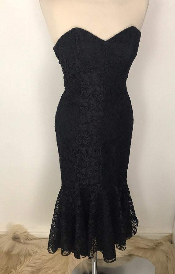 Vintage cocktail dress strapless bustier rara party gown, boned black lace, evening 80s does 50s 1980s costume UK 8,fun, bombshell,hourglass