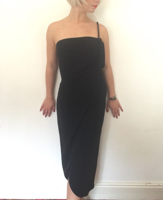 Vintage silk dress black draped Grecian one shoulder gown huge feature tassell beaded rope strap UK 10 1990s does classic Hollywood glamour
