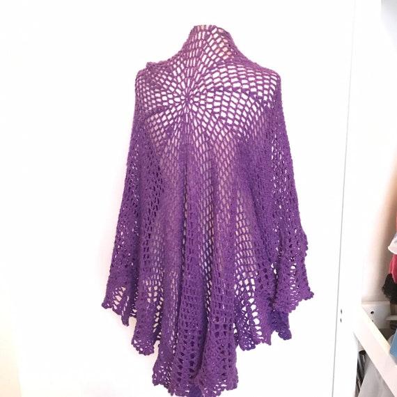 Vintage crochet shawl, circular scarf, cape, purple chunky woolly scarf, crochet scarf, 1970s winter, violet, handmade large wrap boho