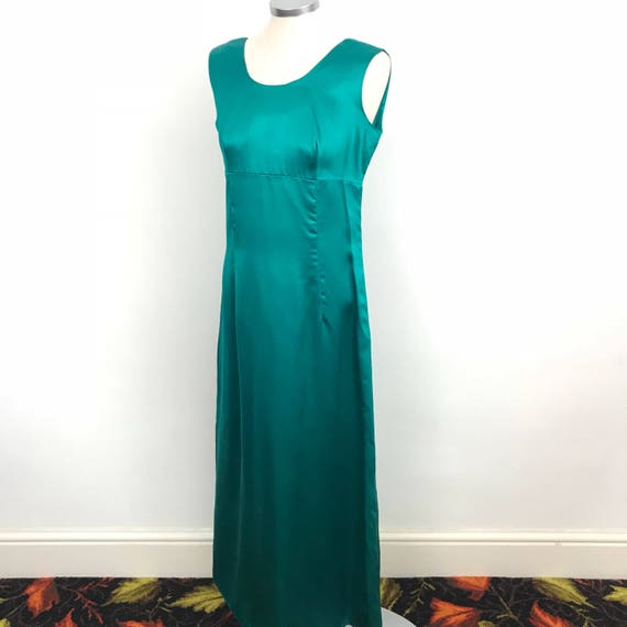 1960s maxi dress emerald green duchess satin evening dress 60s long A line Mod party dress bridesmaid wedding UK 12