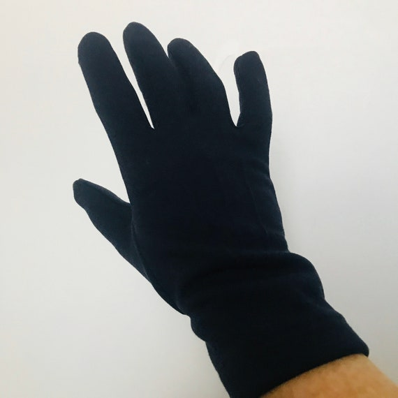Vintage gloves,navy blue,wrist length shorties, 1950s,1960s,Mod,size 7,Scooter girl,Vintage wedding,formal,jersey Gloves