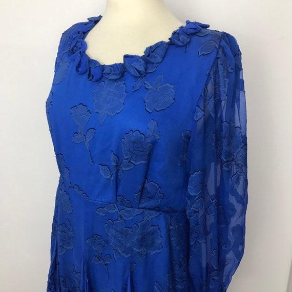 Vintage silk dress, Vintage Hartnell, 1970s blue silk, floral sheer, silk chiffon, UK 16 18, plus size, 1930s style, dancing dress, full ski
