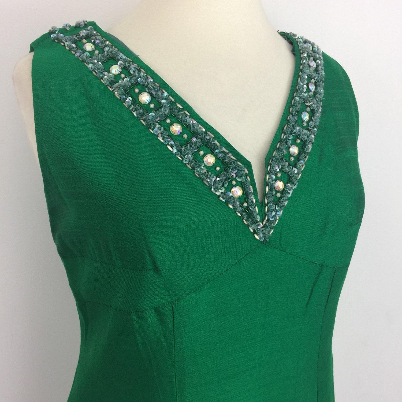 Maxi dress 1960s slubbed silk kelly green fancy beaded trim long ...