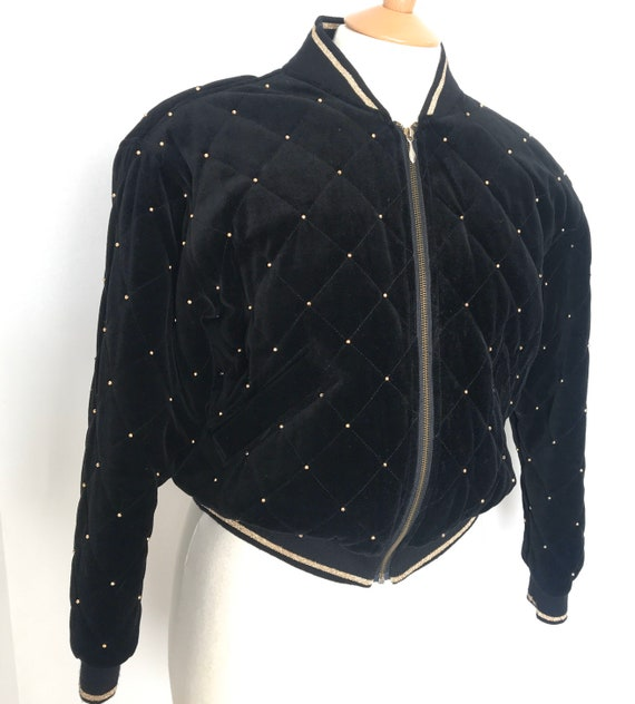 1980s bomber jacket, 80s quilted bomber jacket,padded jacket,studded,velvet,black velvet,trashy,padded,glam,blouson,gold studs,zip up top,M,