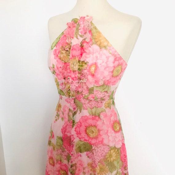 1960s dress, maxi dress, vintage halter neck, floral print, flower power, 1960s,pink,halter top, chiffon dress, frilly,frill,UK 6 8