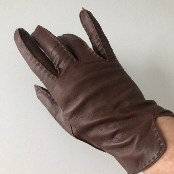 Vintage gloves, brown leather gloves, size 7 1940s brown gloves, 40s style, midcentury, wrist length, fine real unworn new