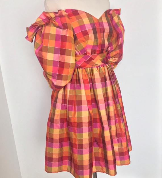 Vintage dress,80s dress,boned,off shoulder,plaid,checkered, cocktail gown,1980s,frilly,orange,pink,petticoat,OTT,ballgown,gypsy,gold,UK 10,