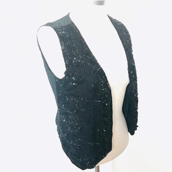 Vintage waistcoat, Sequin waistcoat, vintage vest,black vest,goth,90s,sparkly vest,1980s 1990s jazzy trashy costume burlesque show,small