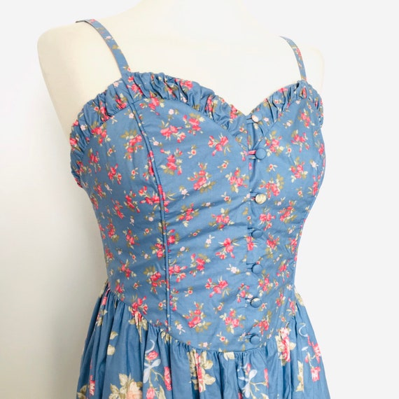 Vintage Laura Ashley,cotton dress,ditsy rose print,blue floral,strappy,80s does 50s,UK 10,dirndl,prairie,flared skirt,1950s style,cotton