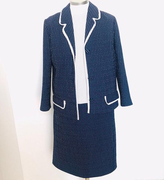 Vintage ladies suit,crimplene suit,3 piece suit,Navy blue,striped,mod suit,pencil skirt, blazer and tunic,white stripes,60s,UK 8,1960s,GoGo