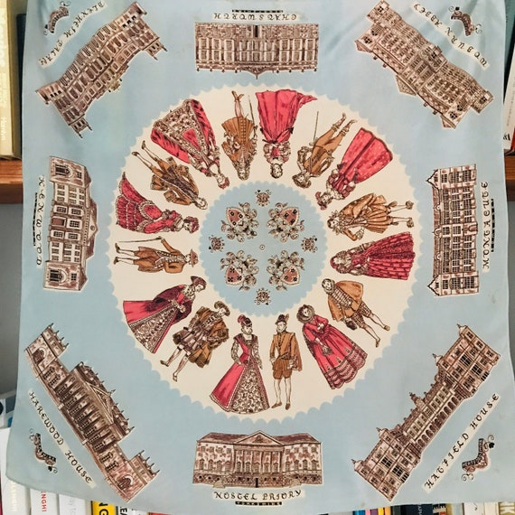 Vintage scarf, souvenir scarf,Historic houses,kings,queens,rayon scarf,square scarf,landmarks,1940s scarf,40s scarf,1930s scarf,Chatsworth,