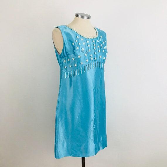 Vintage dress, mini dress baby blue satin, minidress, short dress, pearl trim, beaded, 1960s dress, UK 10, Mad Men, wedding, bridesmaid