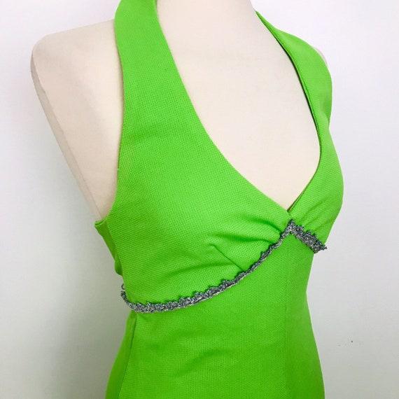 Vintage dress, halter maxi dress, long, neon, lime green dress,sparkly, 1970s, halterneck, A line, disco, glam, silver trim