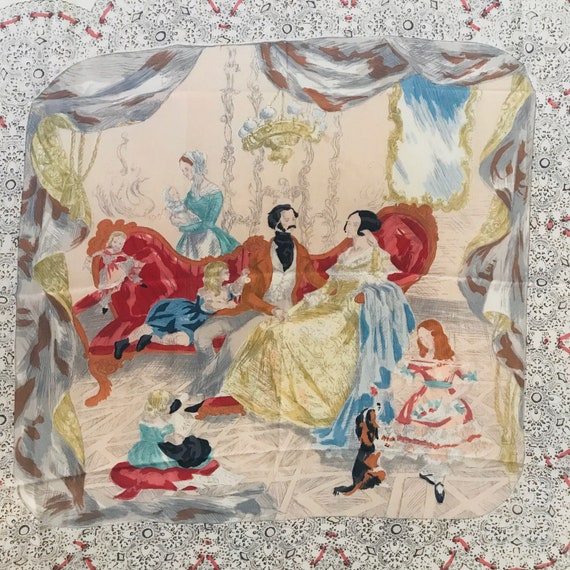 Vintage Silk scarf,Royal Family,The Crown,vintage scarf,Art, square, Jacqmar,Novelty print,painterly,silk scarf,1950s,unfinished,collectable