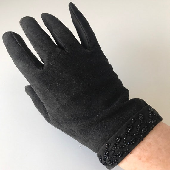 Vintage gloves, black suede, leather gloves, jet beads, fine beading, cuff, 20s, shorties, 6.5, 7, Edwardian