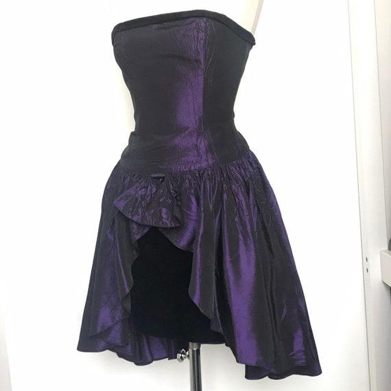 Vintage dress, bustier dress, boned, strapless, purple taffeta, party, peplum, evening, pencil skirt, alt girl goth,UK 6,black velvet,80s
