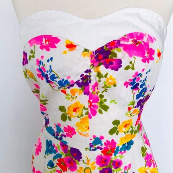 Vintage dress,strapless,flower power,neon, bandeau 1960s,beach dress,60s, flared skirt UK 6,petite,handmade dress,1950s dress short prom