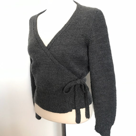 Vintage cardigan, hand knitted, grey wool, ballet cardigan, gray knit, handmade, 80s does 50s,bad girl sweater UK 12, wrap knitwear