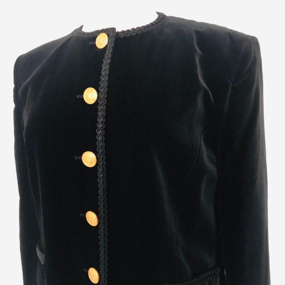 Velvet jacket,black jacket,Gold buttons,tailored jacket,1980s,boxy jacket,braiding,CoCo style,Steampunk Gothic Vampy UK 16,military,goth