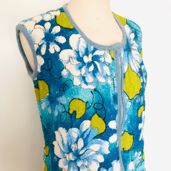1960s towelling,towel top,towelling tunic, mod, psychedelic, beach cover up vacation swimwear VLV, 60s, GoGo, blue, Lime