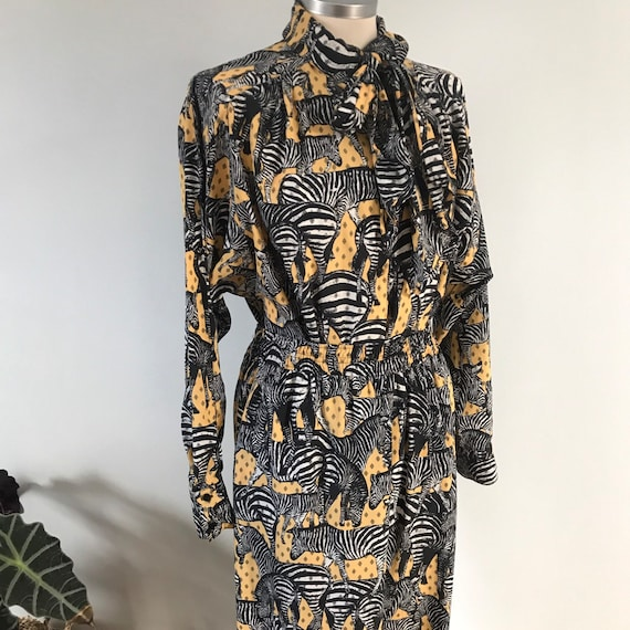 Vintage jumpsuit, vintage shirtand pants,animal print,zebra print,blouson,jungle print,marching outfit,pussybow shirt,vintage jumper,80s,12