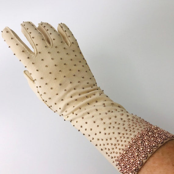 Vintage evening gloves rose gold spotted cream, cotton stretch, beaded gloves, long length, size 7, large, 50s, glam, pin up 1940s, 1950s