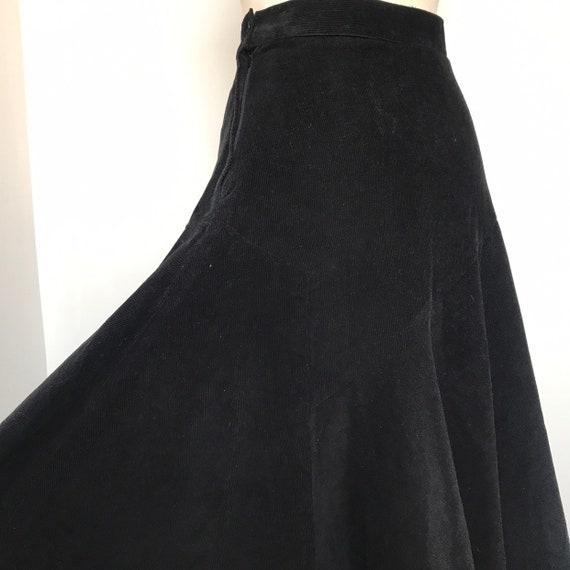 Vintage skirt, corduroy skirt,black skirt,vintage Adini, full skirt, peasant, prairie,hip flare,M,UK 10,cord skirt, 1970s, 80s,50s