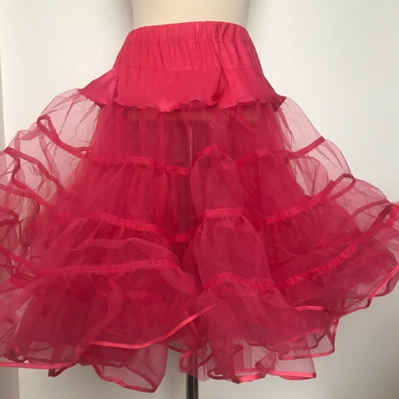 vintage petticoat,pink petticoat,half slip,frilly,nylon,80s does 50s,deep frill,under skirt,pin up,elasticated,14,