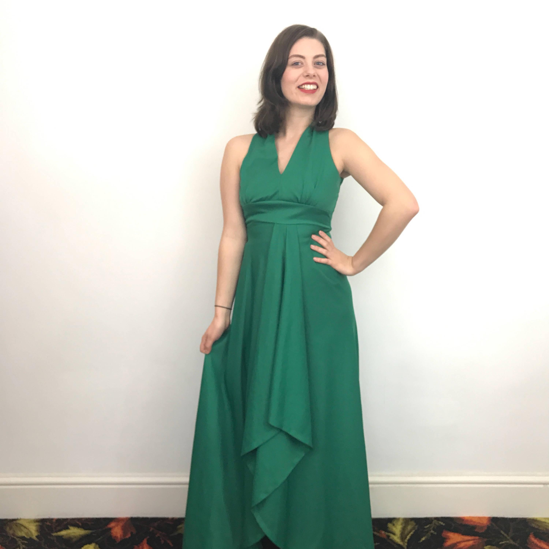 Maxi Dress Grass Green Long 1970s Aline UK 10 Flared Skirt