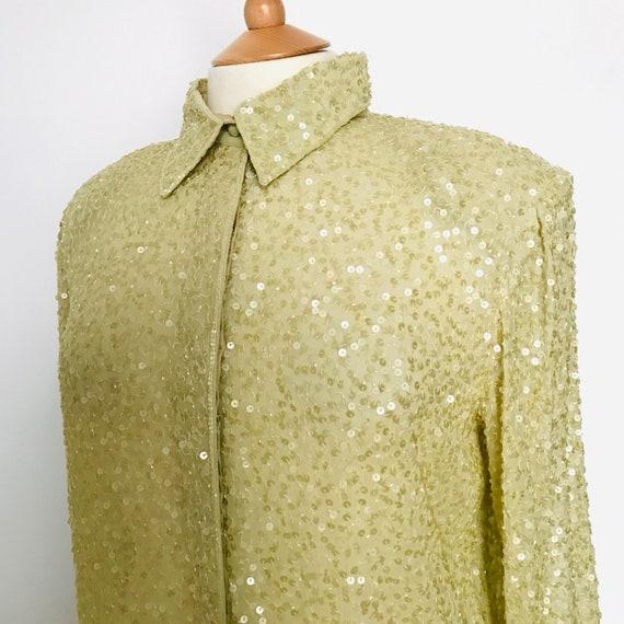 Vintage sequin top,long line blouse,chartreuse ,sequins,sparkly shirt,1980s,80s blouse, M,14, 16,sequin top, long sleeves,mini dress,sequin