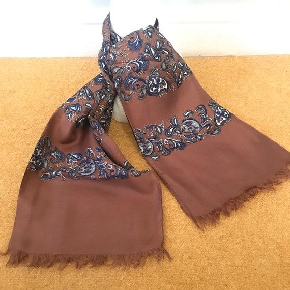 Vintage gents scarf, silk scarf, tasselled, tan,brown, blue, gentlemans cravat, menswear scarf, long Mod neckerchief hugh hefner