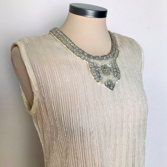 vintage dress,grecian,white dress,avant garde pleated long, column dress, tunic, Indian ,beaded,bridal,elasticated,silver,UK 10 12