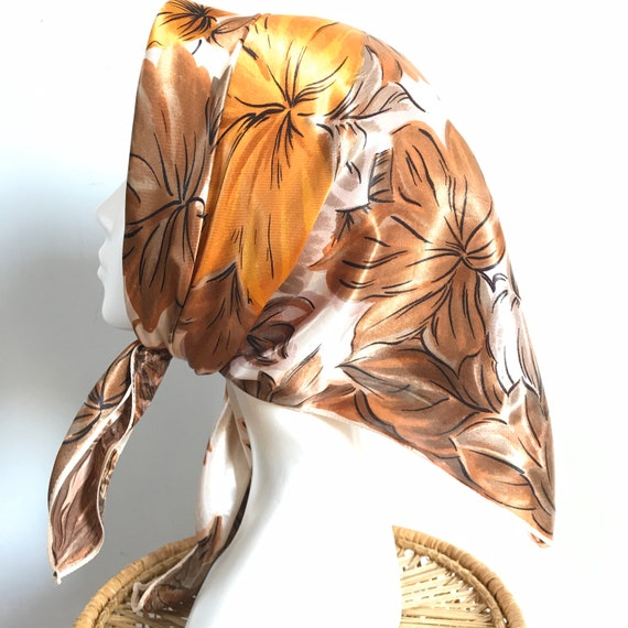 1960s scarf,vintage scarf,square,leaves, leaf,painterly,satin scarf,1950s, 50s scarf, headscarf,brown, copper,orange, fall