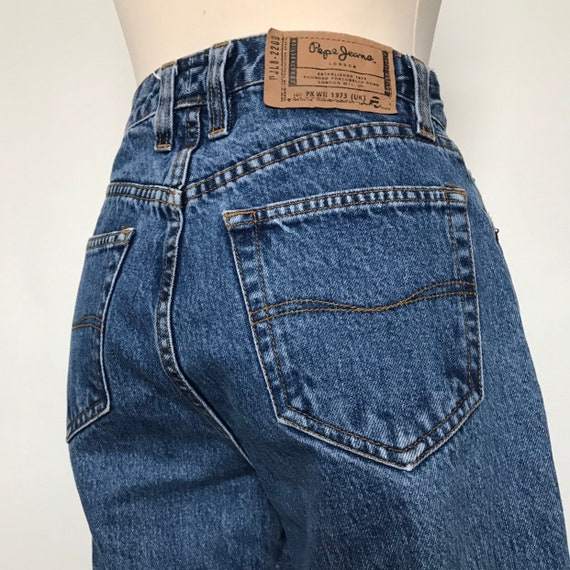 vintage jeans,Pepe Jeans,90s jeans,stonewash,mom fit,very high waisted,vintage 1980s pants,denim trousers,UK  8,26 waist,80s,Pepe Betty