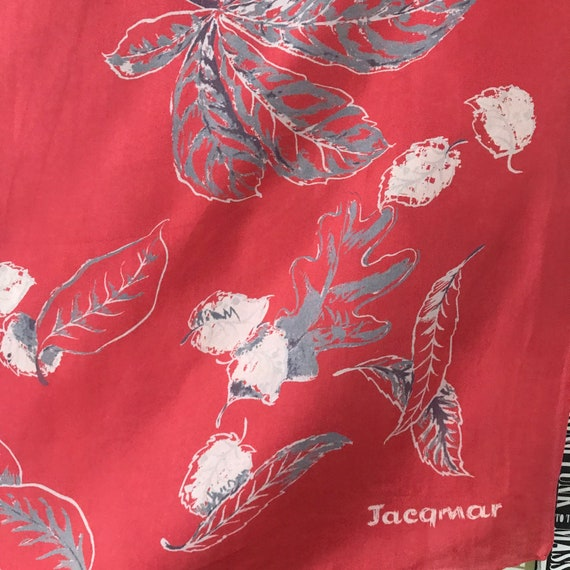 vintage silk scarf, Jacqmar, Autumn,Fall, leaf print,cherry red, gray, hand rolled hem, square 1950s head scarf, turban, oak, acorn,