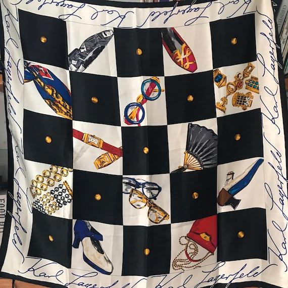 Silk Scarf, Karl Lagerfeld ,vintage novelty print,shoes,handbag,fun print,chequerboard collectable vintage scarves,glam,designer