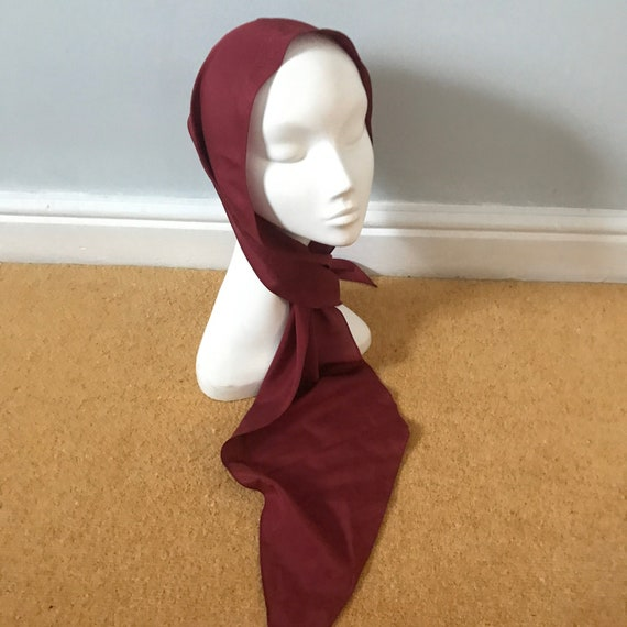 vintage scarf,long thin scarf, Jacqmar,red,burgundy,1970s,polyester scarf,60s,boho headscarf,60s,scooter girl Mod Twiggy,neckerchief
