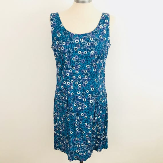 Vintage cotton shift dress flower power daisy print short 90s does 60s gogo UK 10 12 Mod 60s scooter girl Twiggy blue tones