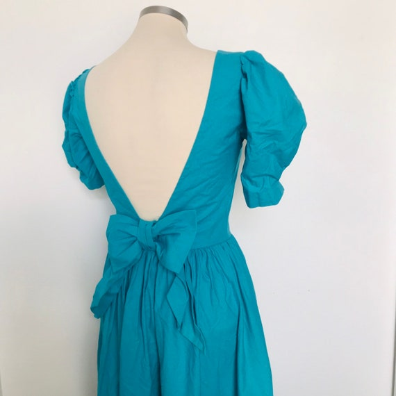 vintage Laura Ashley dress,backless,open back dress,cut out back,kawaii,turquoise,blue,UK 8,party,prairie,princess,cotton,bow