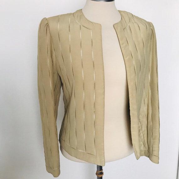 Vintage silk jacket,quilted jacket,blazer,beige jacket,cream silk,padded,1980s,pale gold jacket,evening jacket,90s,glam,70s,disco,UK 10