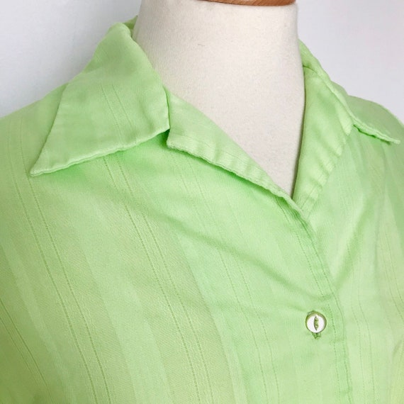 vintage blouse,1960s top,50s blouse,lime green,green shirt,pyjama collar,UK 12,14,button through shirt,vintage,Mod,1950s