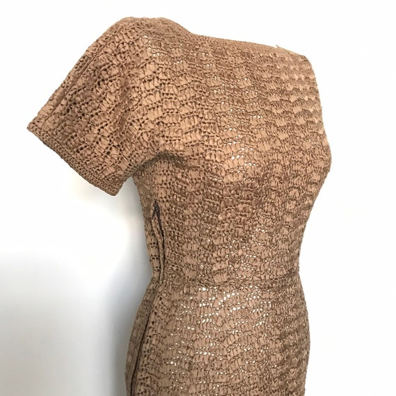 1950s dress,knitted ribbon,early 50s,mink brown,greige,satin ribbon,wiggle dress,50s dress,evening gown,UK 8,sheer,crochet,khaki,